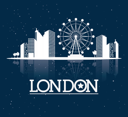 london night: London design over blue background, vector illustration. Illustration