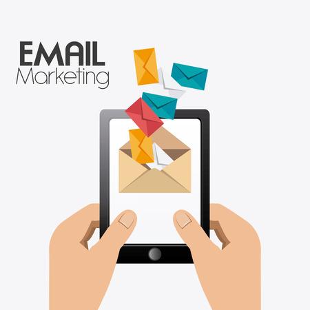mobile marketing: Marketing design over white background, vector illustration.