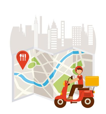 diseño de la entrega de alimentos, ilustración vectorial gráfico eps10