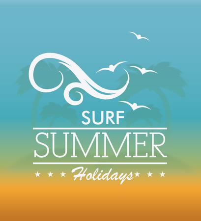 birds of paradise: Summer design over beachscape background, vector illustration.