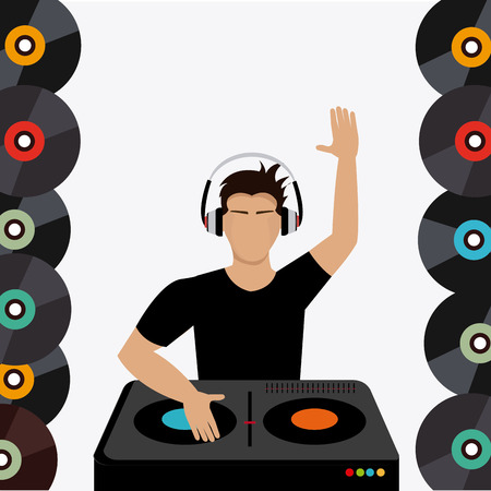 dj turntable: DJ design over colorful background, vector illustration. Illustration
