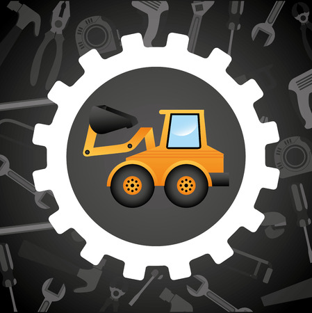 tractor warning sign: under construction design, vector illustration eps10 graphic Illustration
