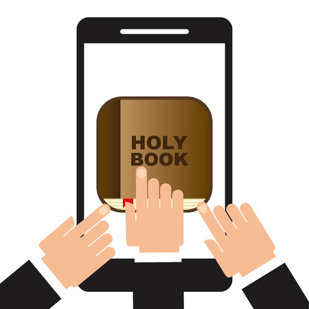 holy book: holy book app design, vector illustration graphic