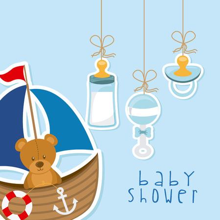 nacimiento bebe: bebé ducha diseño, ilustración vectorial gráfico eps10