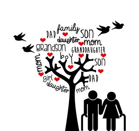 arbol genealógico: diseño del amor de la familia, ejemplo gráfico del vector eps10
