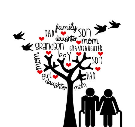 tree of life silhouette: family love design, vector illustration eps10 graphic Illustration