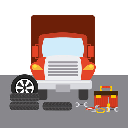 wheel change: truck change tires design, vector illustration eps10 graphic