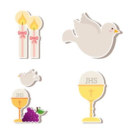 première communion: mignons anges conception, vecteur illustration graphique
