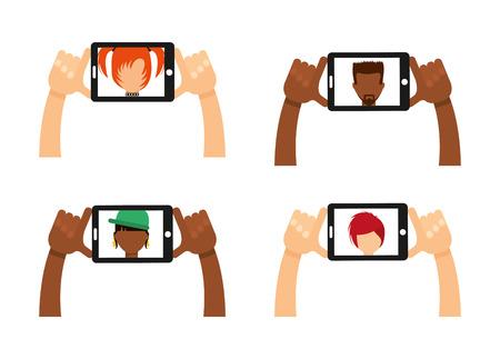 smart woman: selfie concept design, vector illustration graphic