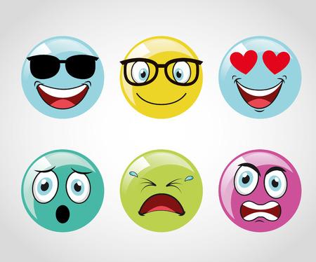diseño emoticonos iconos, ilustración vectorial gráfico Vectores