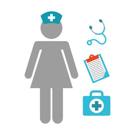 nursing uniforms: dise�o de trabajo de la enfermera, ilustraci�n vectorial gr�fico