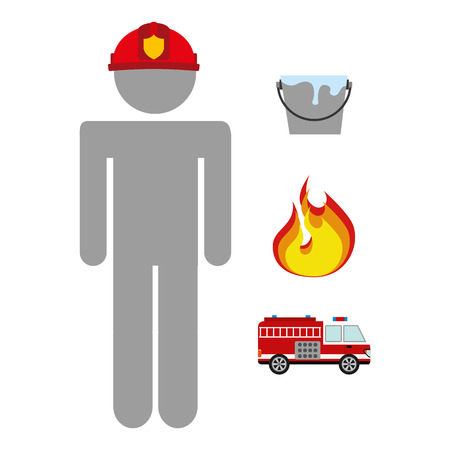 firefighter icon design, vector illustration graphic Vector