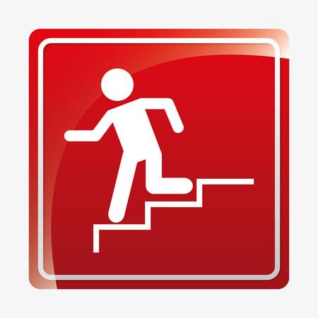 emergency exit label: security signals design, vector illustration graphic