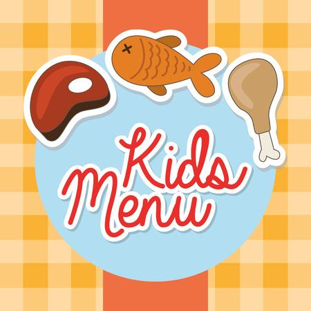 fish type: kids menu design, vector illustration graphic