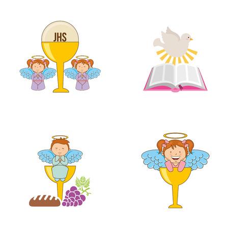chalice: cute angels design, vector illustration eps10 graphic Illustration