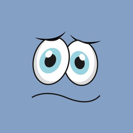 occhi tristi: disegno facce fumetto, illustrazione grafica vettoriale Vettoriali