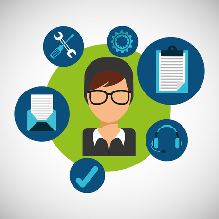 setup man: customer support design, vector illustration graphic