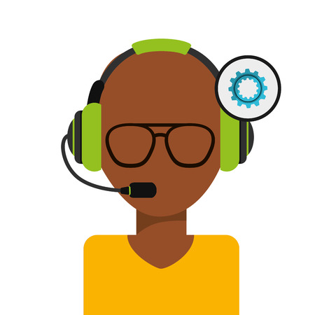 setup operator: customer support design, vector illustration  graphic