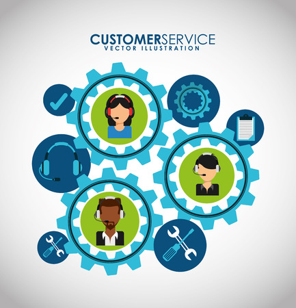 machine operator: customer support design, vector illustration graphic
