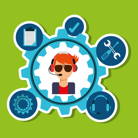 setup man: customer support design, vector illustration graphic