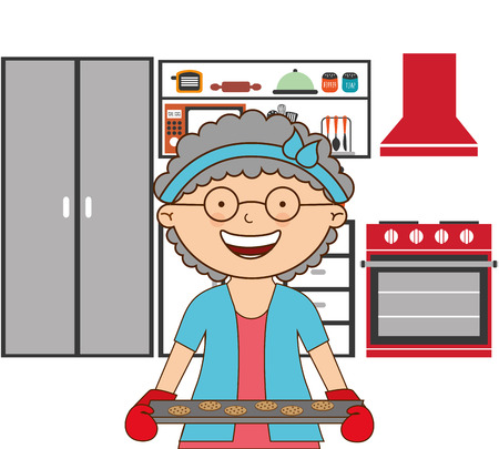 persona mayor: cooking dise�o abuela, ilustraci�n vectorial gr�fico eps10