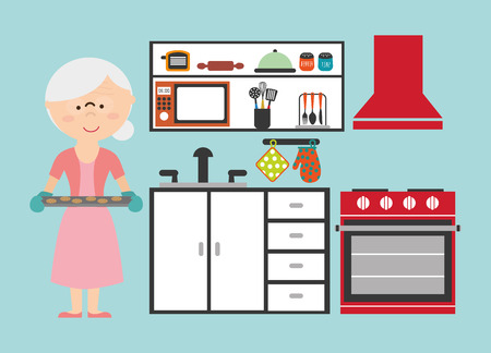 grandmother cooking design, vector illustration eps10 graphic Vector