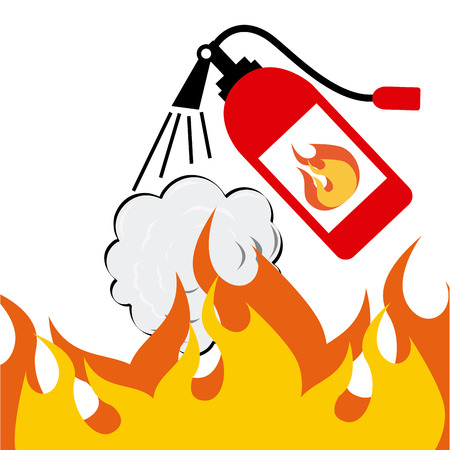 fire extinguisher sign: fire concept design, vector illustration eps10 graphic