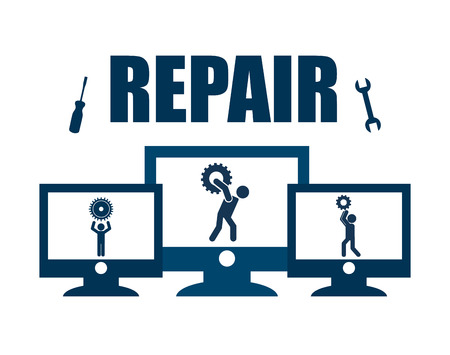 repair computer: repair computer design, vector illustration