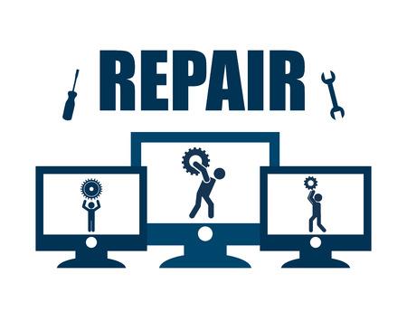 repair computer design, vector illustration