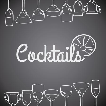 Cocktail ontwerp over grijze achtergrond, vector illustratie. Vector Illustratie