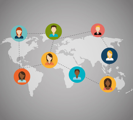 socializing: Network design over gray background, vector illustration. Illustration