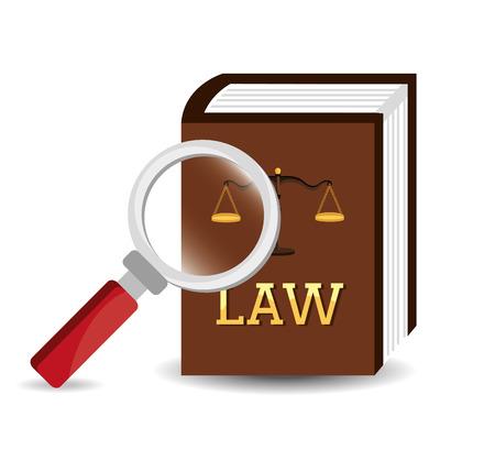DERECHO: Diseño de la Ley sobre el fondo blanco, ilustración vectorial. Vectores