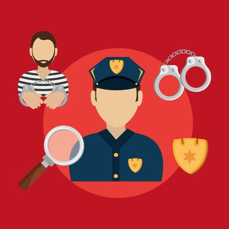 barrister: Law design over red background, vector illustration. Illustration