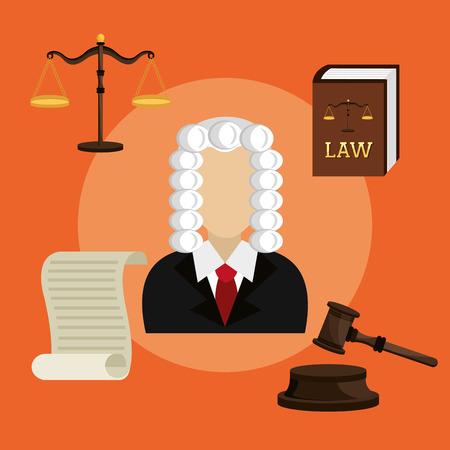 barrister: Law design over orange background, vector illustration.