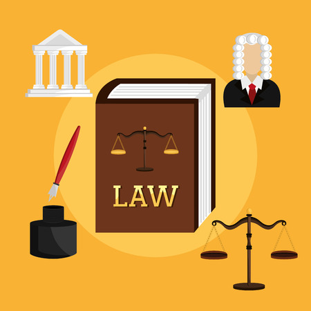 tribunal: Law design over yellow background, vector illustration.