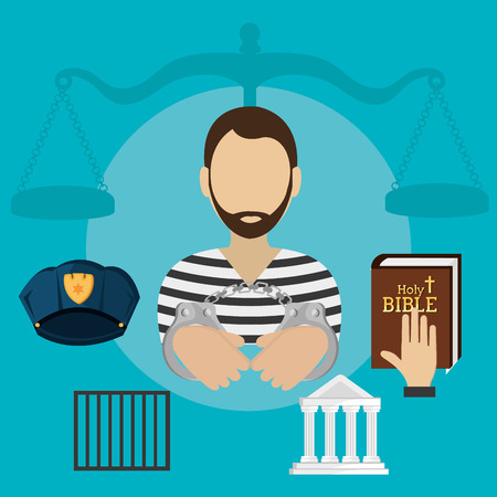 Law design over blue background, vector illustration. Vettoriali