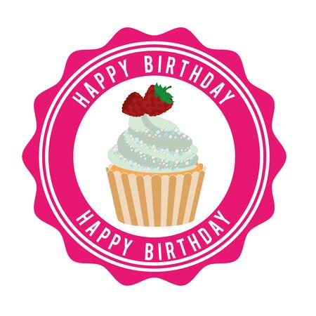layout strawberry: happy birthday design, vector illustration eps10 graphic