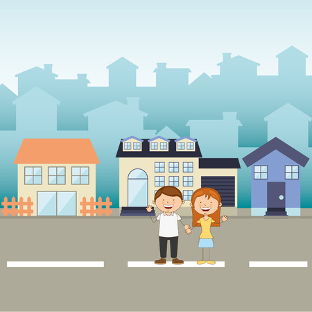 suburb: happy family design, vector illustration eps10 graphic
