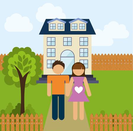 suburban home: happy family design, vector illustration eps10 graphic