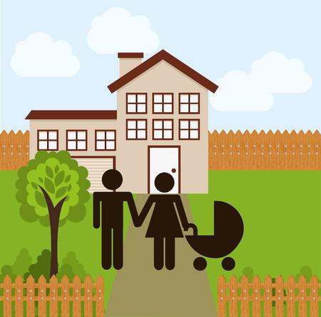 happy couple house: happy family design, vector illustration Illustration