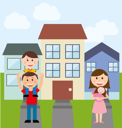 suburban home: happy family design, vector illustration Illustration