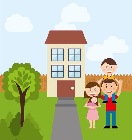happy family design, vector illustration  Illustration
