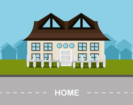 hometown: Urban design over landscpae background, vector illustration. Illustration