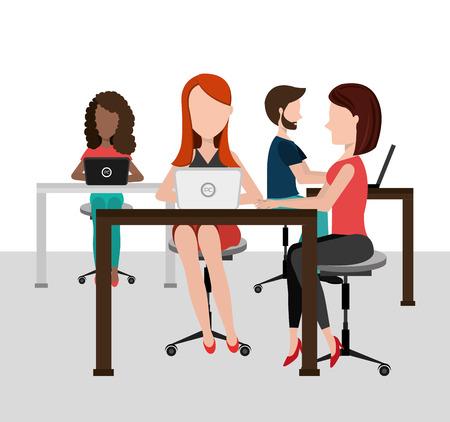 womens work: Coworking design over white background, vector illustration. Illustration