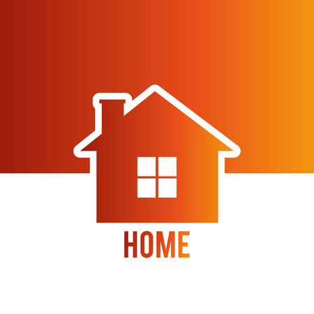 hometown: Urban design over orange and white background, vector illustration.