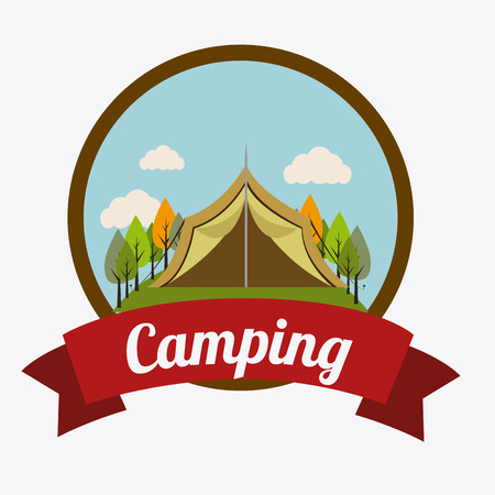 summer cartoon: Camping design over white background, vector illustration. Illustration