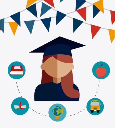 world class: Graduation design over white background, vector illustration.