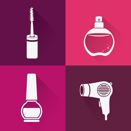 make over: Make up design over pink background, vector illustration.