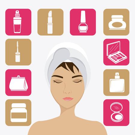 make over: Make up design over white background, vector illustration.