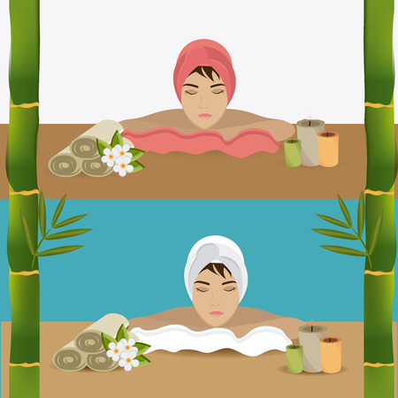 beauty therapist: SPA design over colorful background, vector illustration.